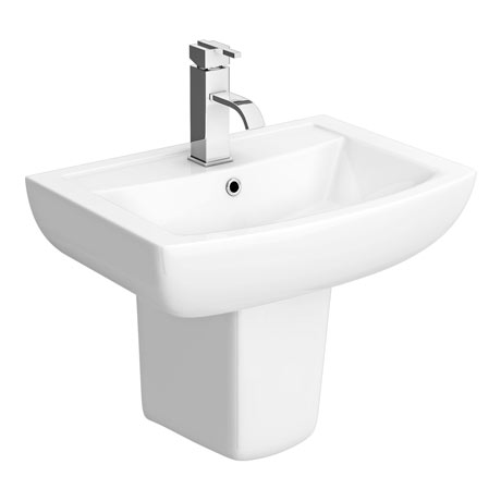 Milan Basin + Semi Pedestal (550mm Wide - 1 Tap Hole)
