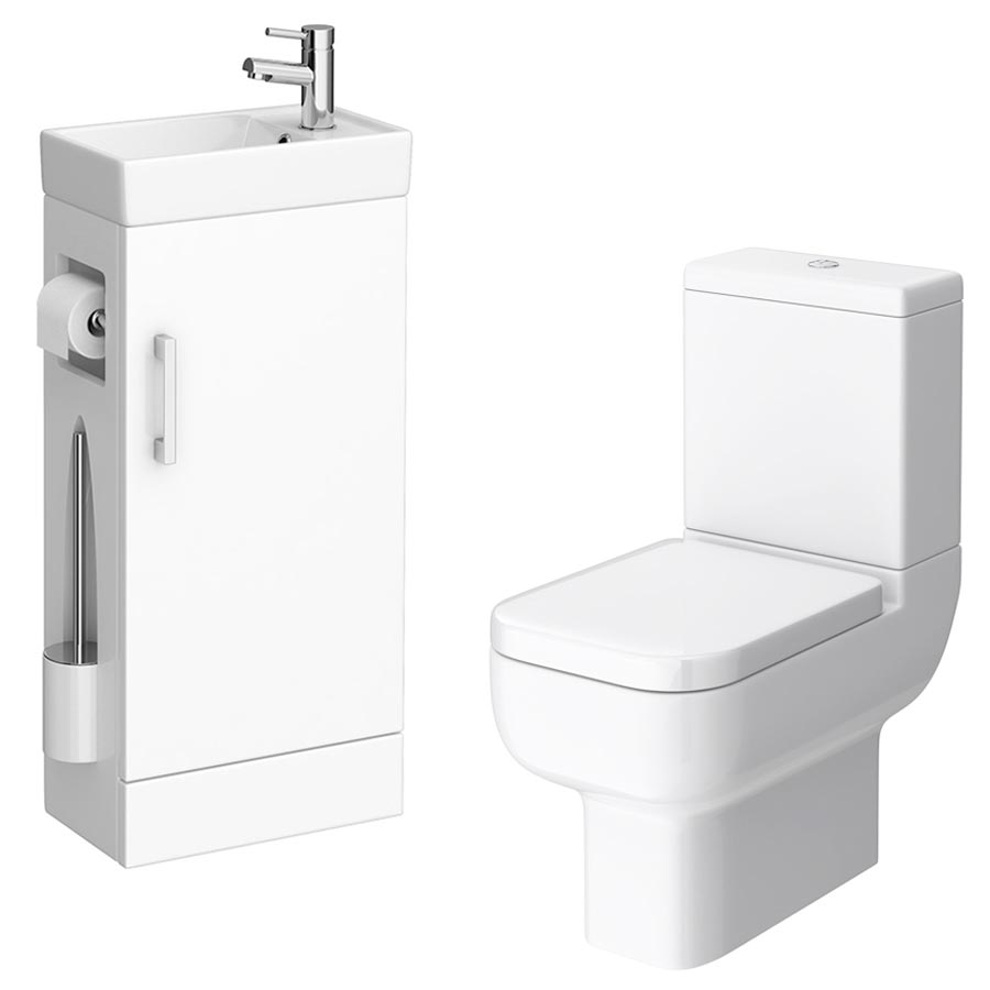 Milan Compact Complete Cloakroom Suite (Toilet & Vanity Unit) profile large image view 2