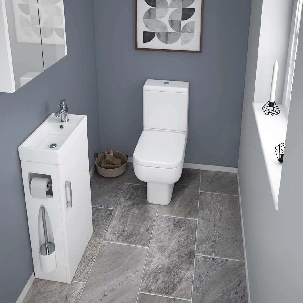 Milan Compact Complete Cloakroom Unit (Gloss White - Depth 220mm) profile large image view 3