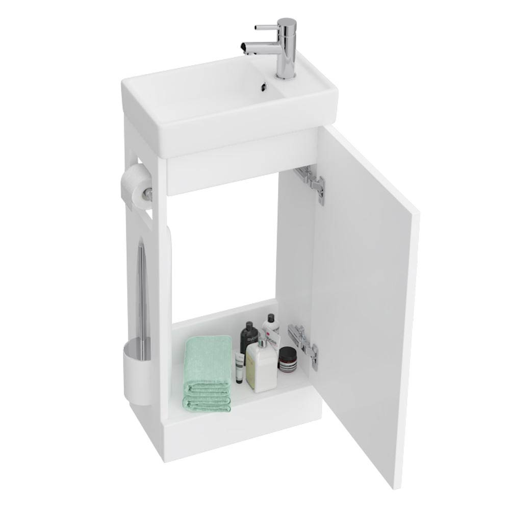 Milan Compact Complete Cloakroom Unit (Gloss White - Depth 220mm) profile large image view 4