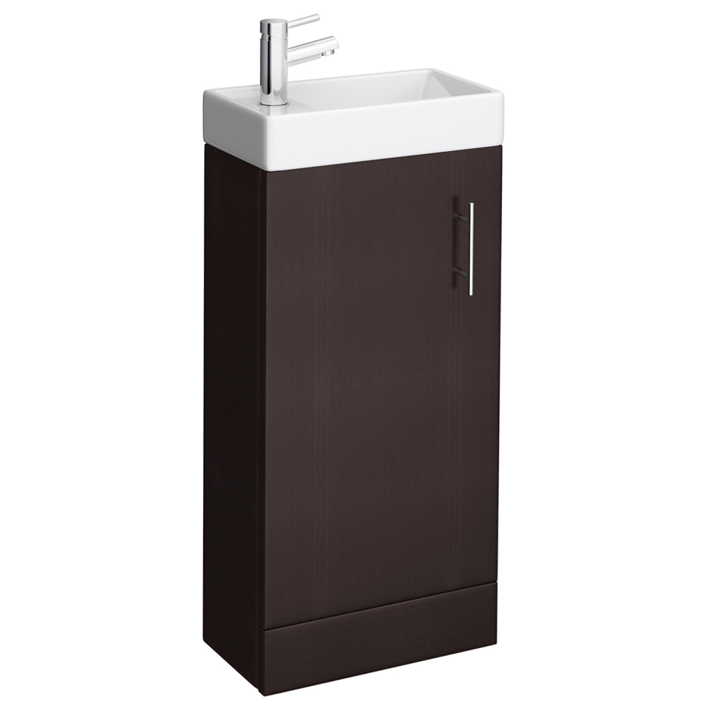 Milan Compact Floor Standing Basin Vanity Unit - Ebony (W400 x D222mm) profile large image view 1