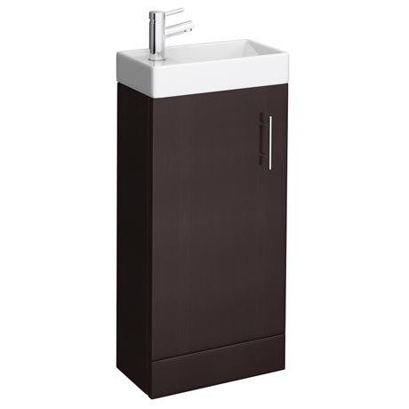 Milan Compact Floor Standing Basin Vanity Unit - Ebony (W400 x D222mm)