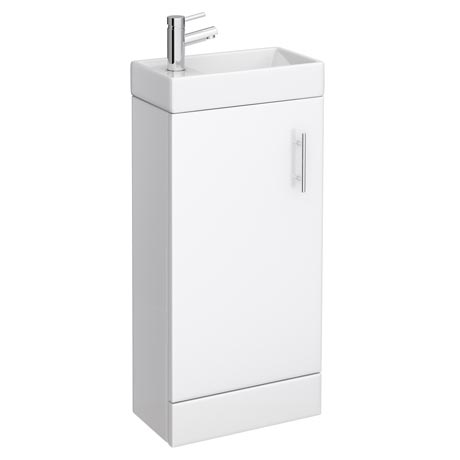 Milan Small Floor Standing Vanity Basin Unit - Gloss White (W400 x D222mm)