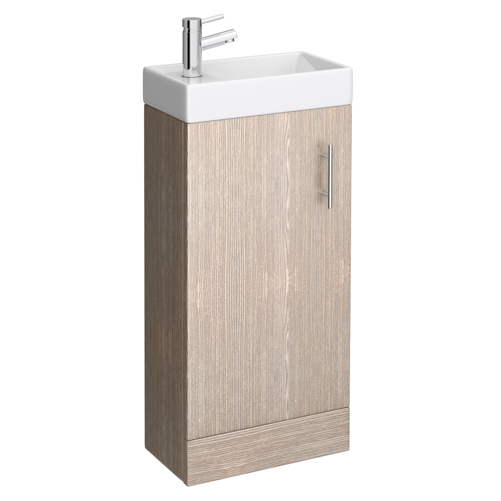 Milan Compact Floor Standing Basin Vanity Unit - Light Oak (W400 x D222mm) Large Image