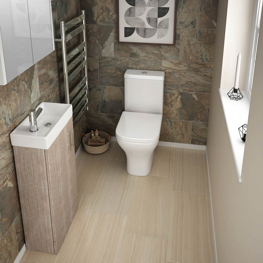 Milan Compact Floor Standing Basin Vanity Unit - Light Oak (W400 x D222mm)  Profile Large Image