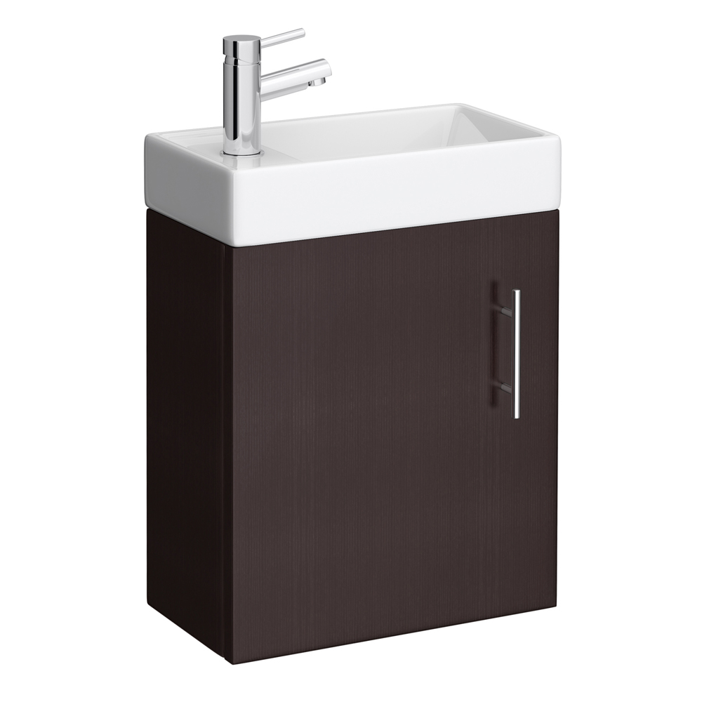 Milan Compact Wall Hung Basin Vanity Unit - Ebony (W400 x D222mm) profile large image view 1