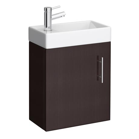 Milan Compact Wall Hung Basin Vanity Unit - Ebony (W400 x D222mm)