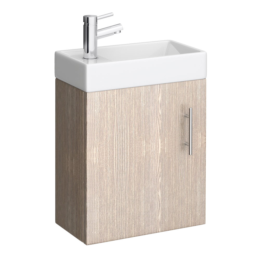 Milan Compact Wall Hung Basin Vanity Unit - Light Oak (W400 x D222mm) Large Image