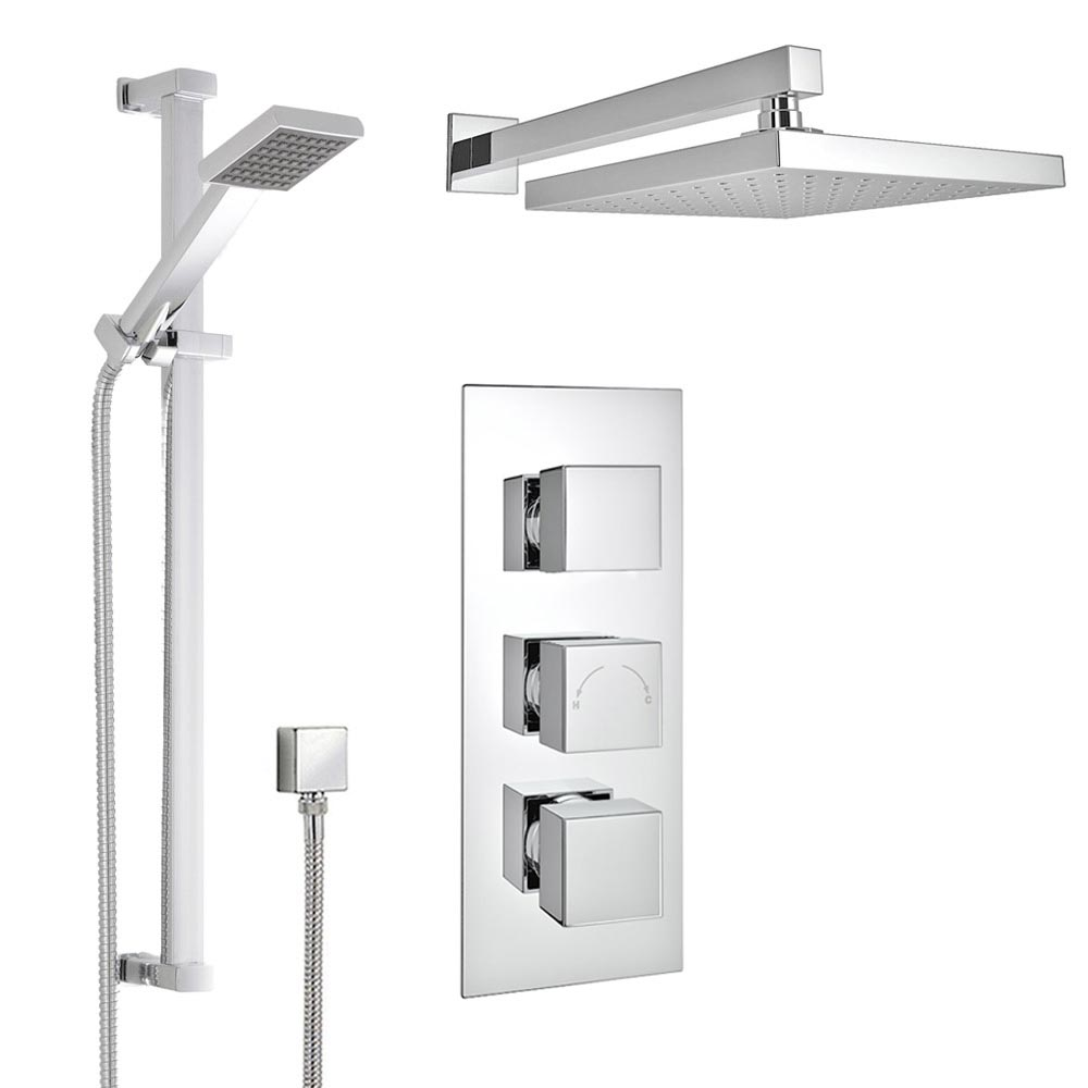 Milan Concealed Shower Valve with Slide Rail Kit & Wall Mounted Fixed Head profile large image view 1