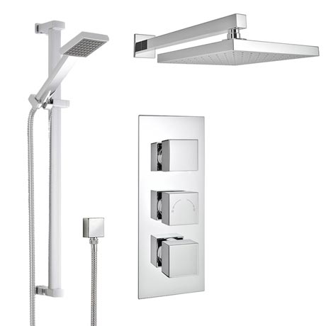 Milan Concealed Shower Valve with Slide Rail Kit & Wall Mounted Fixed Head