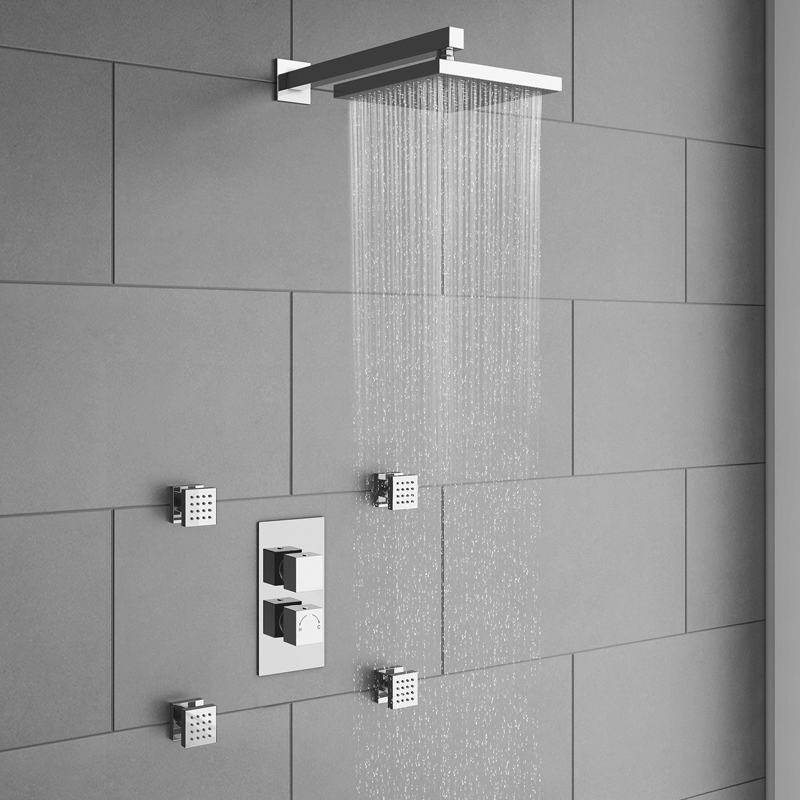 Body Jet Shower Bathroom: Milan Concealed Thermostatic Valve With Diverter, Head + 4