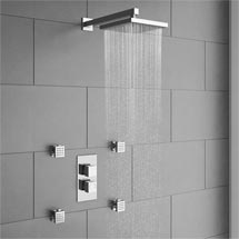 Milan Concealed Thermostatic Valve with Diverter, Fixed Shower Head & 4 Body Jets Medium Image