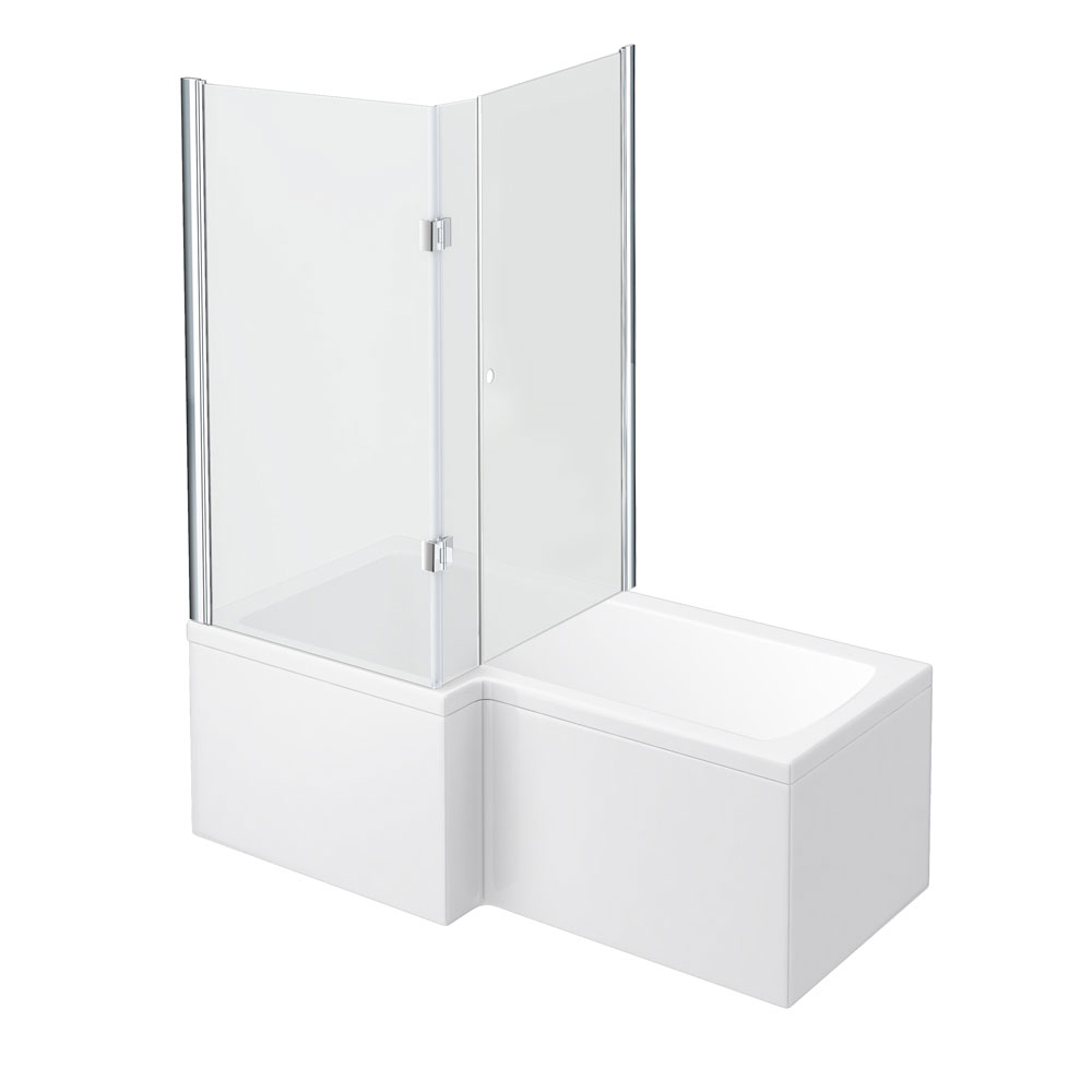 Milan Shower Bath Enclosure - 1700mm L-Shaped Inc. Hinged Screen + Panel Large Image