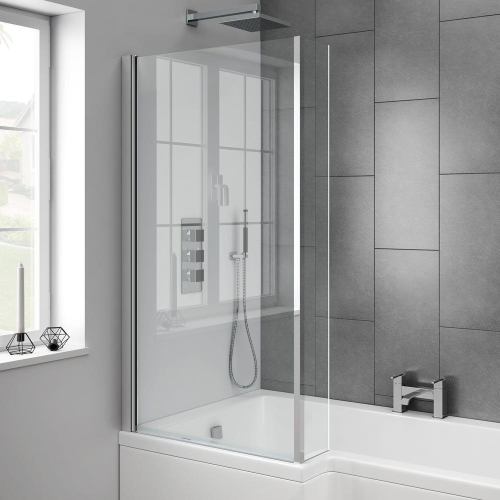 Milan L-Shaped Hinged Bath Screen profile large image view 2