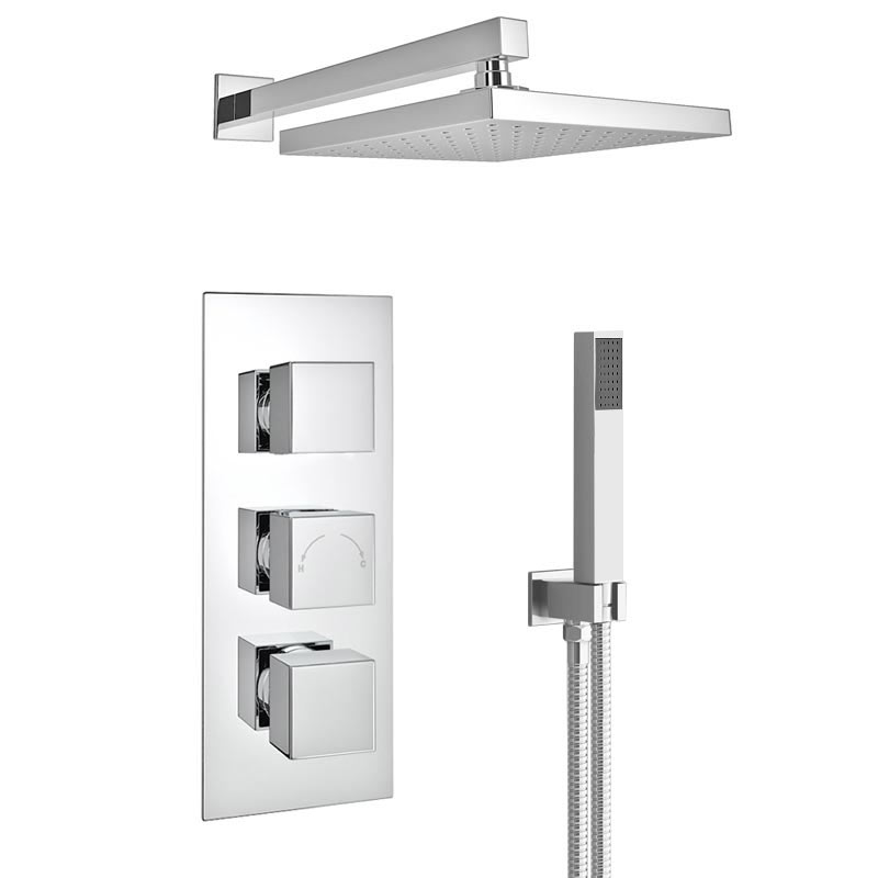 Milan LED Triple Thermostatic Valve with Square Shower Head + Handset profile large image view 3