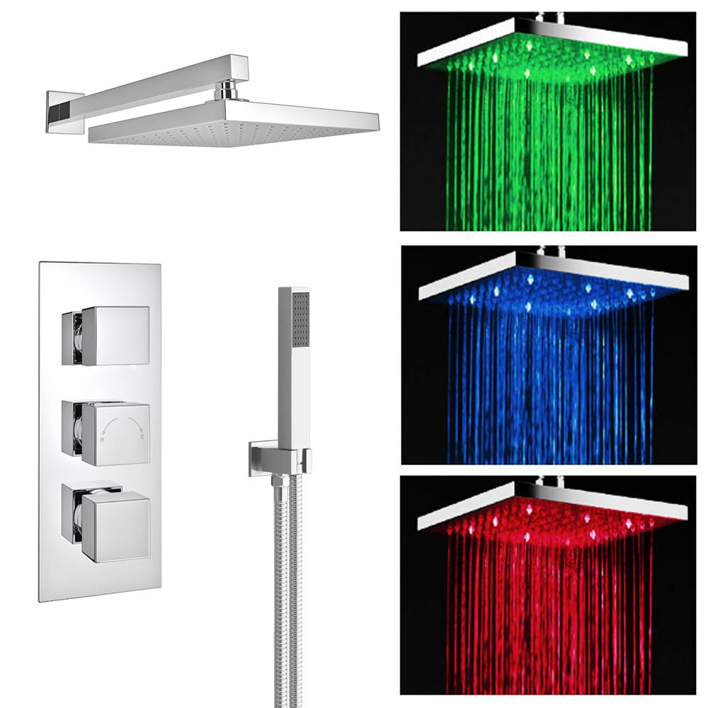 Milan LED Triple Thermostatic Valve with Square Shower Head + Handset Large Image