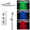 Milan LED Triple Thermostatic Valve with Square Shower Head + Handset profile small image view 1