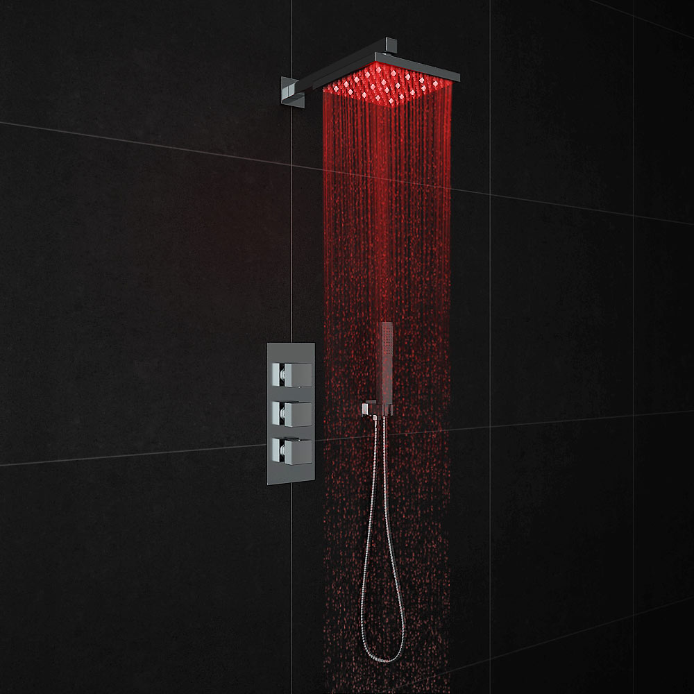 Milan LED Triple Thermostatic Valve with Square Shower Head + Handset