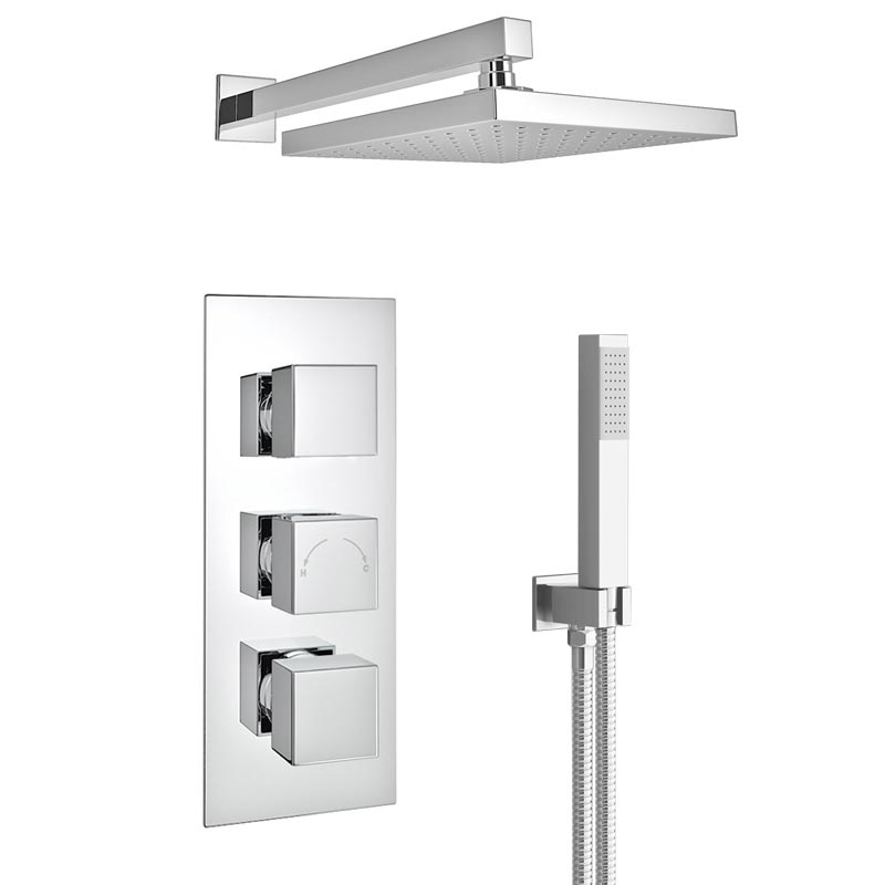Milan LED Triple Thermostatic Valve with Square Shower Head + Handset Feature Large Image