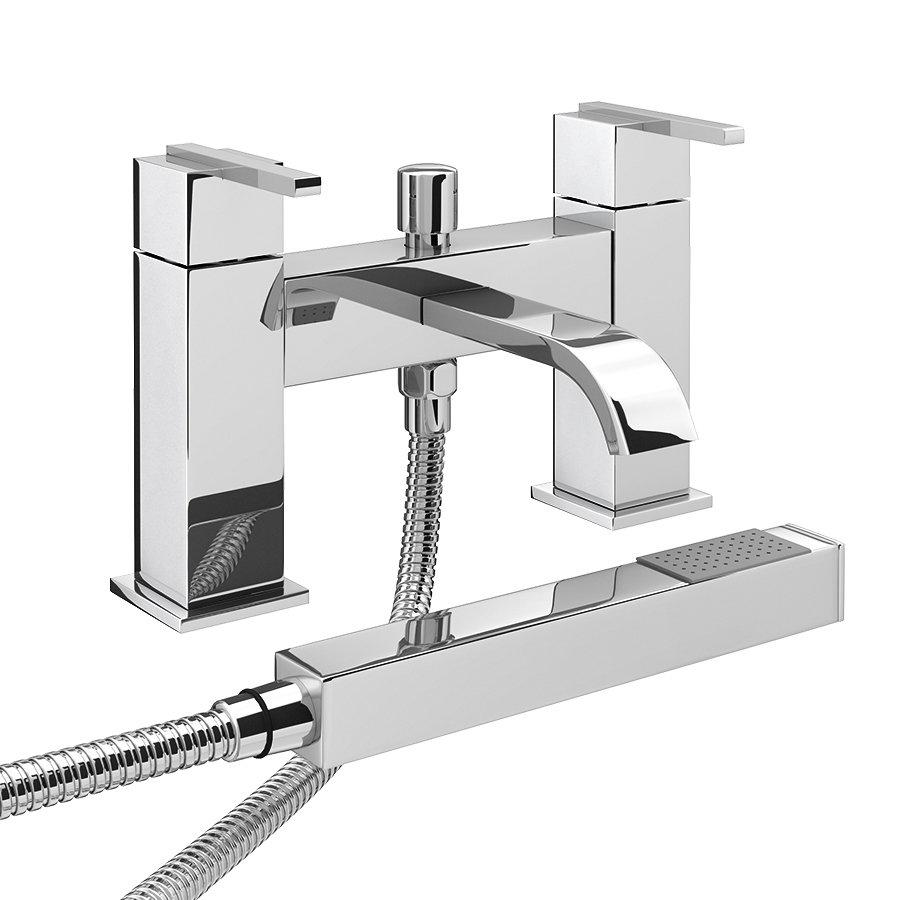 Milan Modern Bath Shower Mixer with Shower Kit - Chrome Large Image