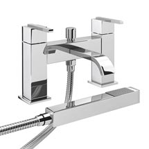 Milan Modern Bath Shower Mixer with Shower Kit - Chrome Medium Image