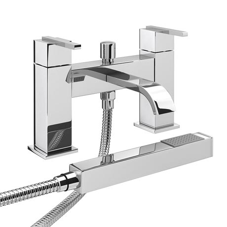 Milan Modern Bath Shower Mixer with Shower Kit - Chrome
