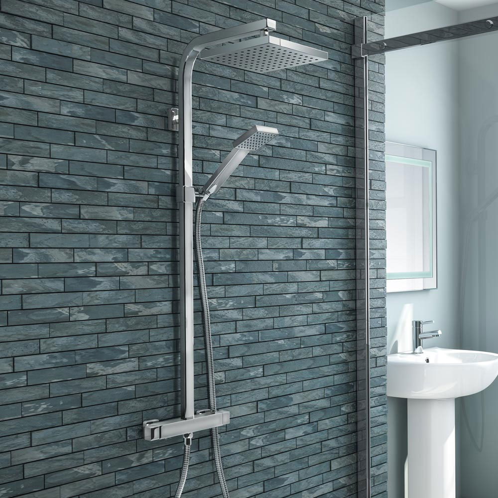 Milan Modern LED Thermostatic Shower - Chrome profile large image view 2