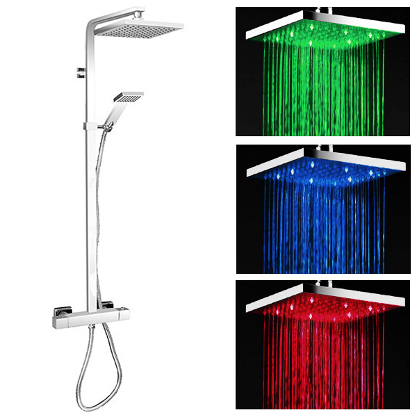 Milan Modern LED Thermostatic Shower - Chrome profile large image view 1