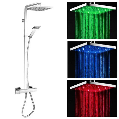 Milan Modern LED Thermostatic Shower - Chrome