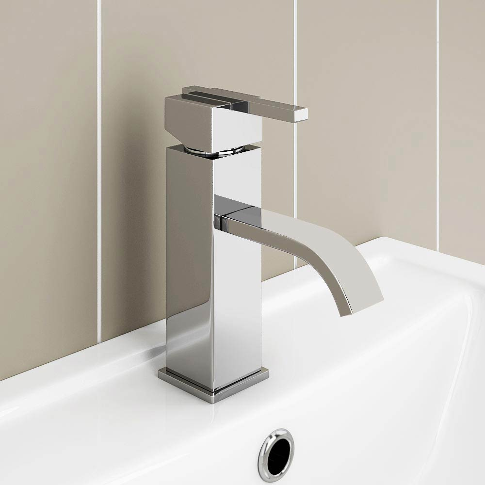 Milan Modern Mono Basin Mixer Tap with Waste - Chrome profile large image view 3