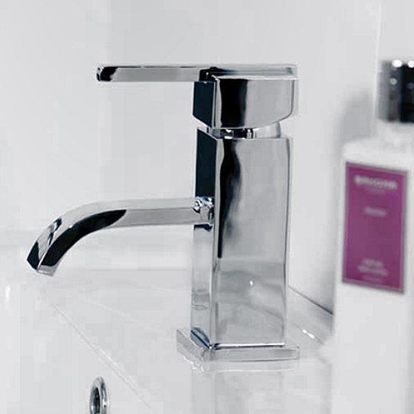 Milan Modern Mono Basin Mixer and Bath Filler - Chrome Feature Large Image