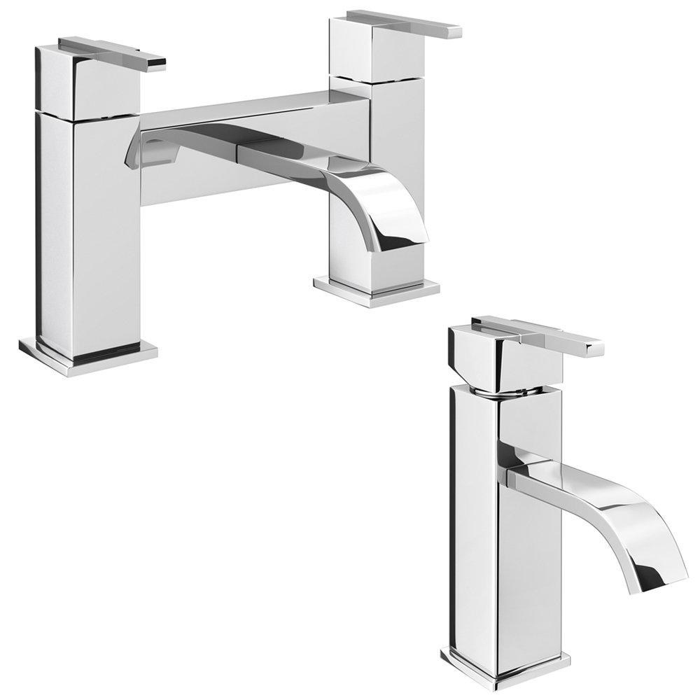 Milan Modern Mono Basin Mixer and Bath Filler - Chrome Large Image