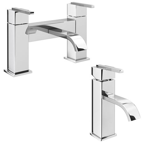 Milan Modern Mono Basin Mixer and Bath Filler - Chrome