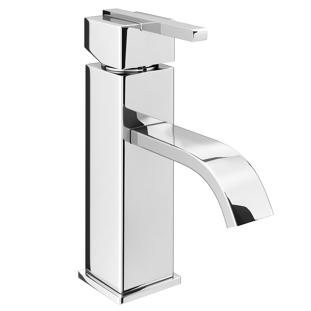 Milan Modern Mono Basin Mixer Tap with Waste - Chrome profile large image view 1