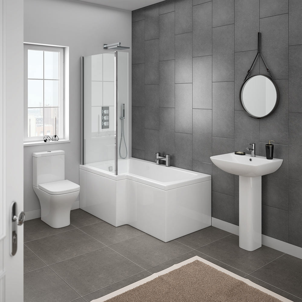 Milan modern shower bath suite online at victorian for Bathroom suites