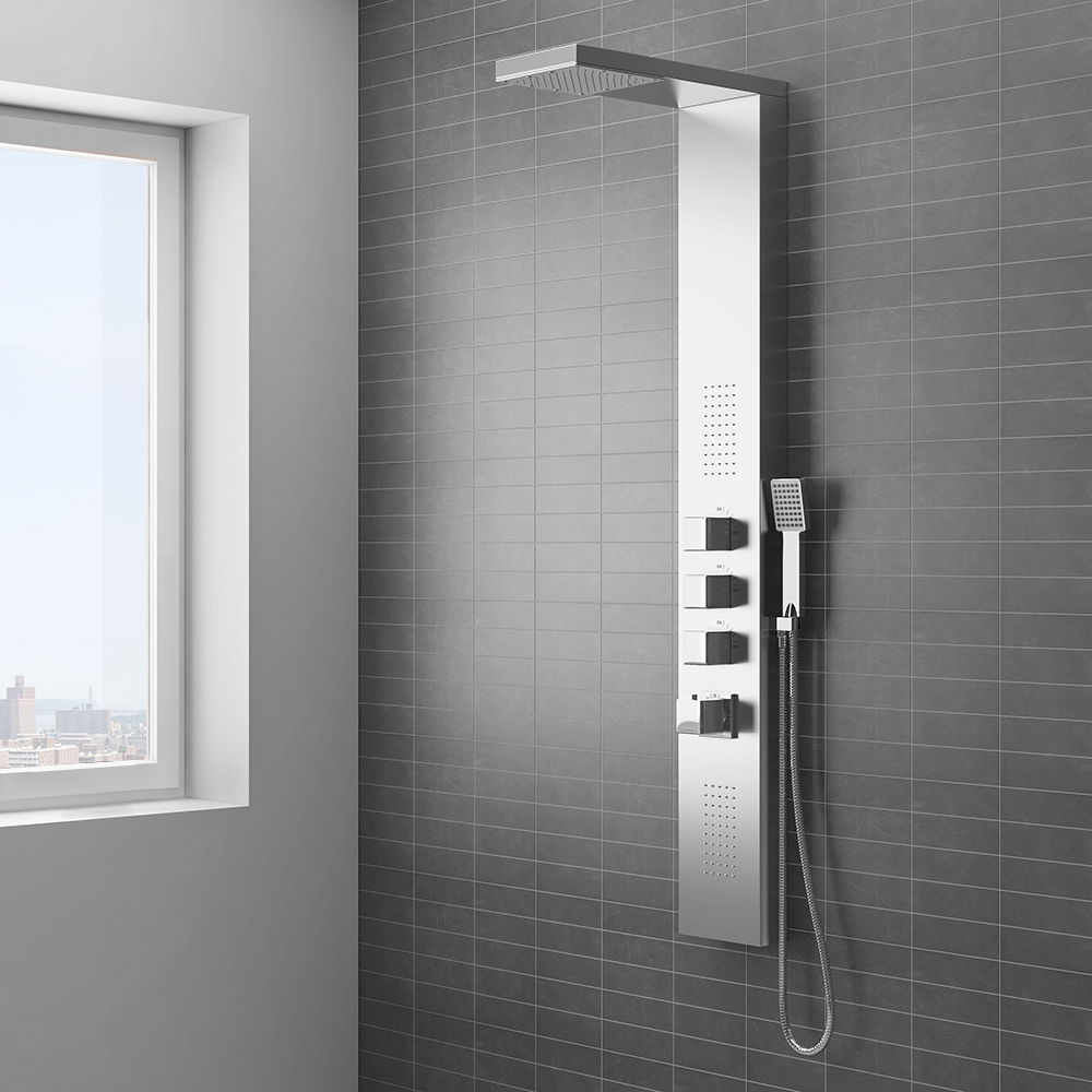 Milan Modern Stainless Steel Tower Shower Panel -.A stylish, spa-like experience makes this shower tower a fantastic shower idea. Set against grey bathroom wall tiles. | 14 Fresh Shower Ideas