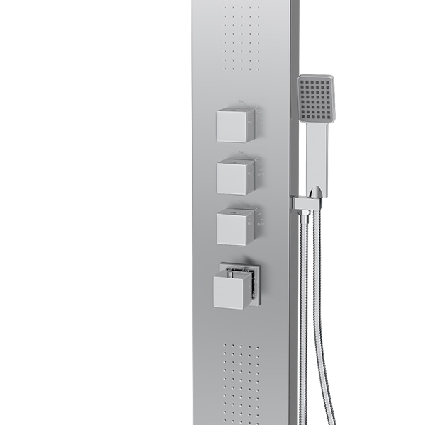 Milan Modern Stainless Steel Tower Shower Panel (Thermostatic) Feature Large Image