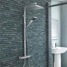 Milan Modern Thermostatic Shower - Chrome Medium Image