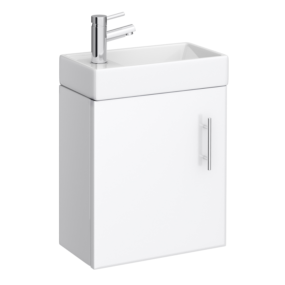 Milan Modern Wall Hung Basin Vanity Unit - Gloss White (W400 x D222mm)