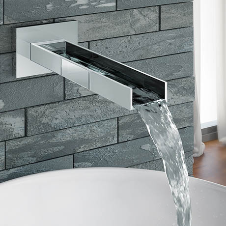 Milan Modern Wall Mounted Waterfall Basin/Bath Spout - Chrome