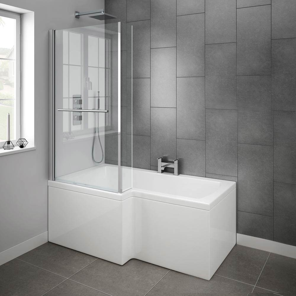 milan shower bath 1500mm l shaped inc hinged screen with