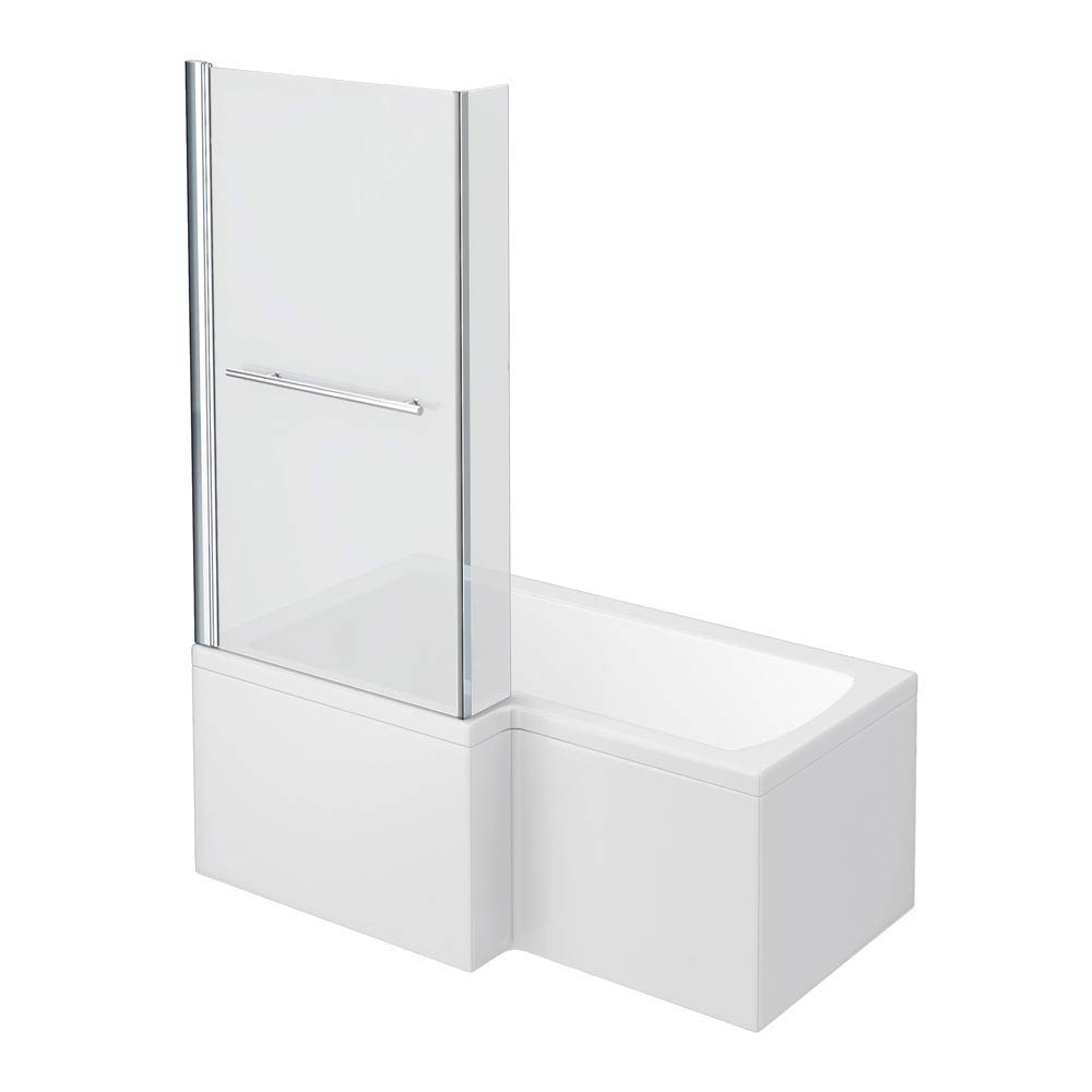 Milan Shower Bath - 1500mm L Shaped Inc. Screen with Rail + Panel profile large image view 1