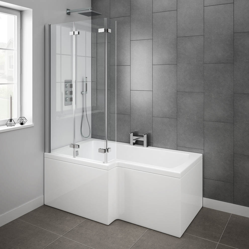 Milan Shower Bath - 1500mm L Shaped with Double Hinged Screen + Panel profile large image view 4