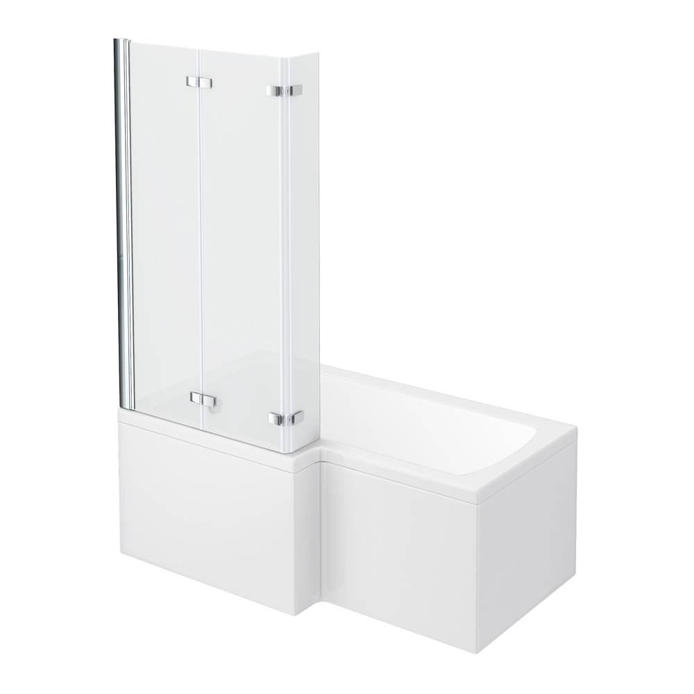 Milan Shower Bath - 1500mm L Shaped with Double Hinged Screen & Panel Large Image