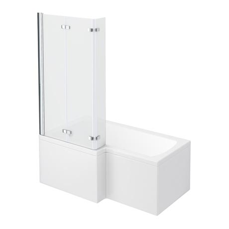 Milan Shower Bath - 1500mm L Shaped with Double Hinged Screen & Panel