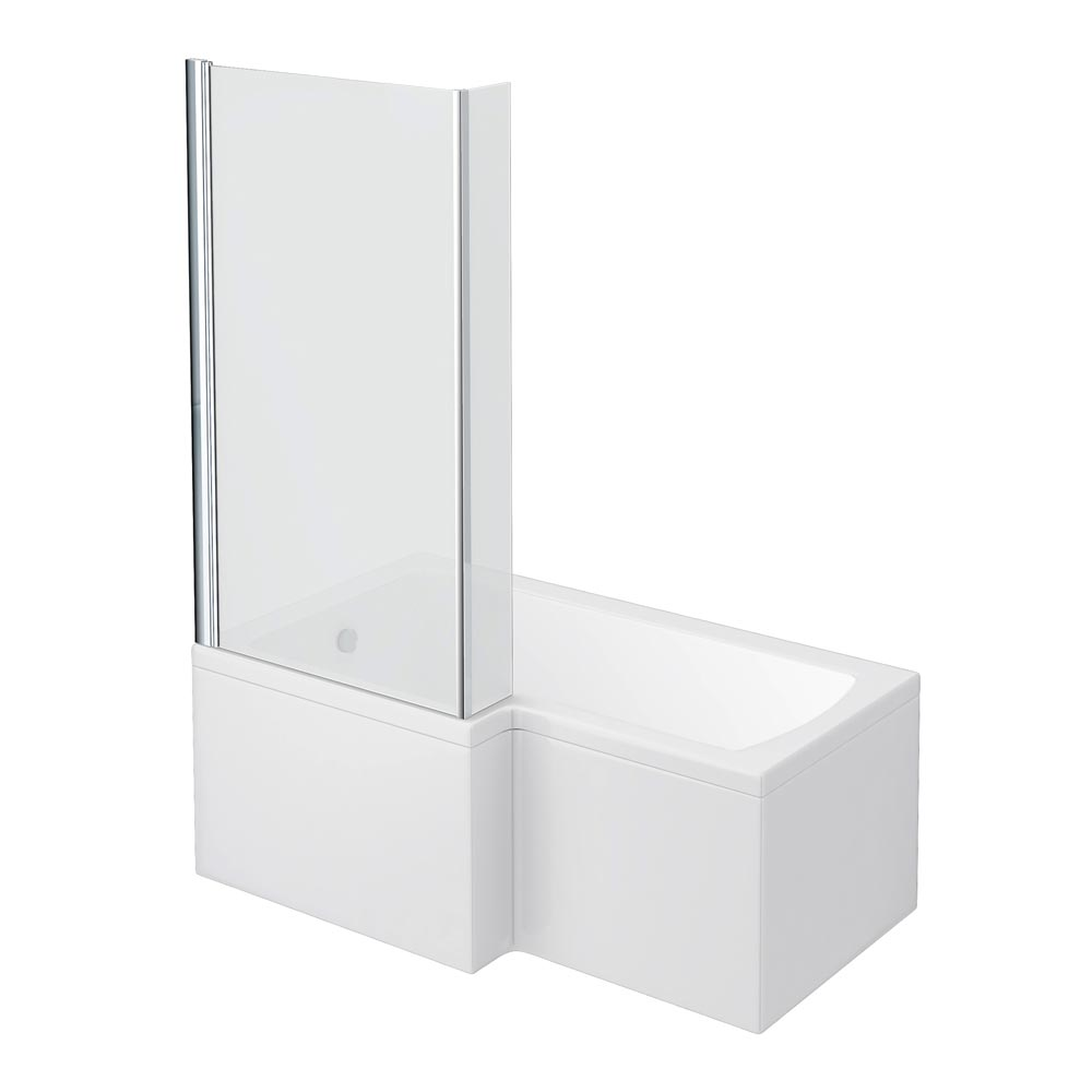 Milan Shower Bath - 1500mm L Shaped with Screen + Panel profile large image view 1