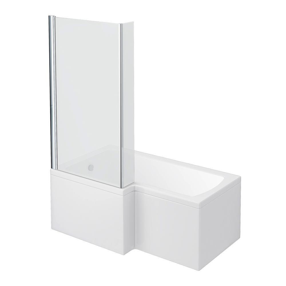 milan shower bath 1500mm l shaped with screen panel online l shaped shower baths bathroom supastore