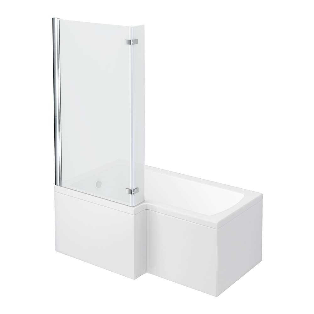 Milan Shower Bath - 1500mm L Shaped with Hinged Screen + Panel profile large image view 1