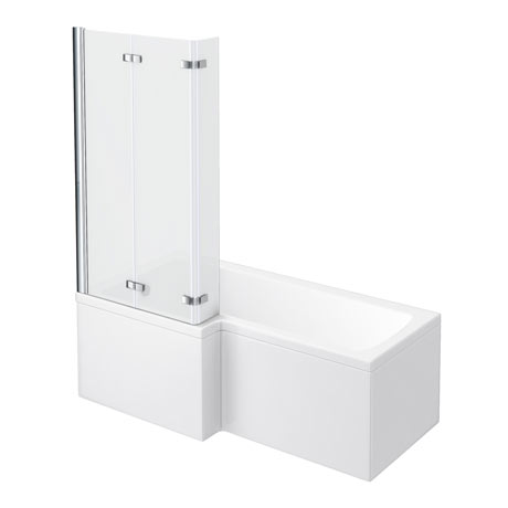 Milan Shower Bath - 1600mm L Shaped with Double Hinged Screen + Panel