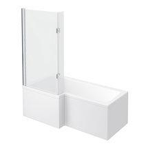 Milan Shower Bath - 1600mm L Shaped with Hinged Screen + Panel Medium Image